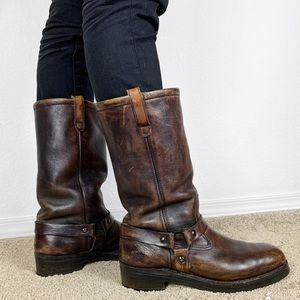 Vintage Leather Harness Boots Deer Skin Lined
